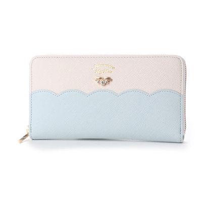プリムヴェールリズリサ Primevere LIZ LISA サボン 配色スカラップラウンド長財布 (ブルー)
