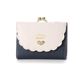 プリムヴェールリズリサ Primevere LIZ LISA サボン 配色スカラップがま口折財布 (ネイビー)