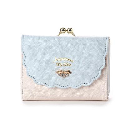 プリムヴェールリズリサ Primevere LIZ LISA サボン 配色スカラップがま口折財布 (ブルー)