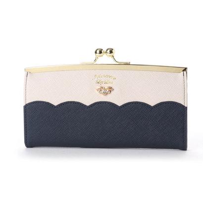 プリムヴェールリズリサ Primevere LIZ LISA サボン 配色スカラップがま口長財布 (ネイビー)