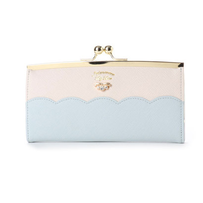 プリムヴェールリズリサ Primevere LIZ LISA サボン 配色スカラップがま口長財布 (ブルー)