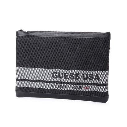 ゲス GUESS MESH LETTERING CLUTCH BAG (BLACK)