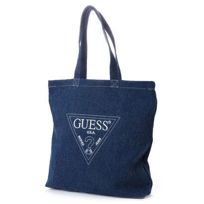 ゲス GUESS EMBROIDERY TRIANGLE LOGO DENIM SHOULDER TOTE BAG (DARK BLUE)