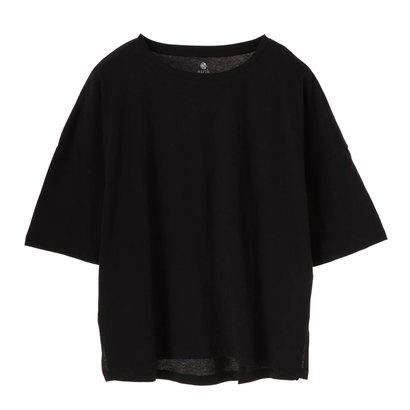 アースミュージックアンドエコロジー earth music&ecology 5分袖クルーネックTシャツ (Black)