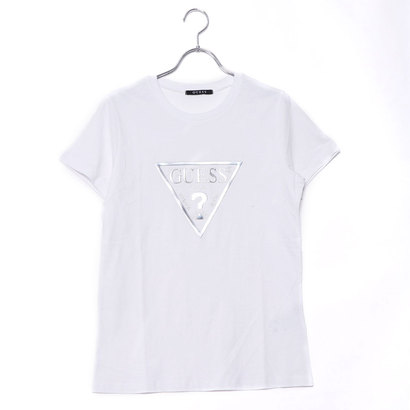 ゲス GUESS METALLIC TRIANGLE LOGO TEE (WHITE)