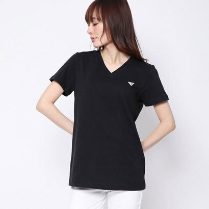 ゲス GUESS LOGO MINI PATCH V-NECK TEE (BLACK)