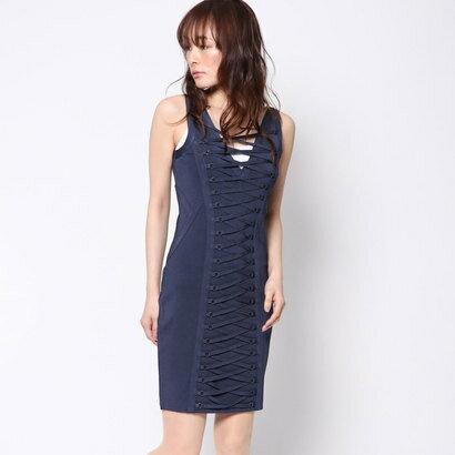 ゲス GUESS MIRAGE LACE-UP BANDAGE DRESS (DRESS BLUES)