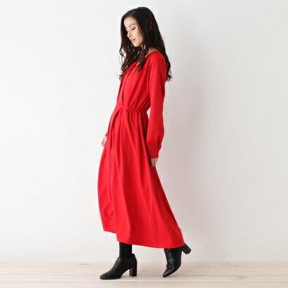 【アウトレット】インデックス INDEX カシュクール風ロングワンピース (レッド)