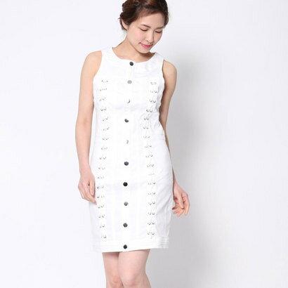ゲス GUESS LACE-UP DENIM DRESS (BRILLIANT WHITE)
