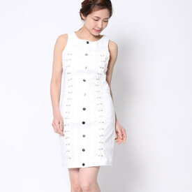 【アウトレット】ゲス GUESS LACE-UP DENIM DRESS (BRILLIANT WHITE)