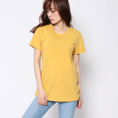 ゲス GUESS EMBOSS TRIANGLE LOGO TEE (YELLOW)