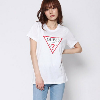 ゲス GUESS TRIANGLE LOGO S/S TEE (WHITE)