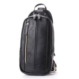 オティアス Otias フェイクレザー×ツヤ白化合皮 縦型ボディバッグ/ワンショルダーバッグ (ブラック)