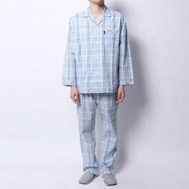 【アウトレット】ランバン コレクション LANVIN COLLECTION サテンチェックパジャマ (ブルー)