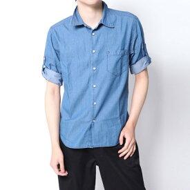 【アウトレット】イーブス サプライ YEVS supply デニムロールUPシャツ (ブルー)
