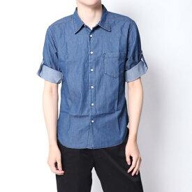 【アウトレット】イーブス サプライ YEVS supply デニムロールUPシャツ (ネイビー)