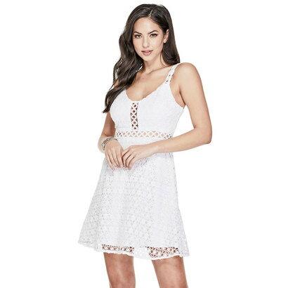 ゲス GUESS GEORGIE LACE DRESS (BRILLIANT WHITE)