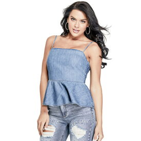 【アウトレット】ゲス GUESS FRANCINE DENIM PEPLUM TOP (MEDIUM WASH)