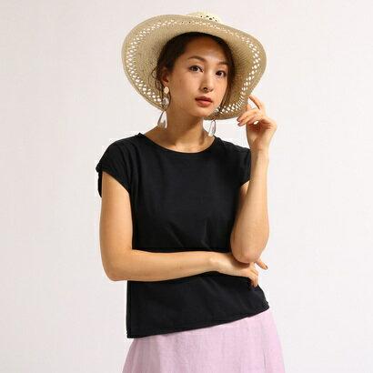 アクアガール aquagirl 【洗える】フレンチスリーブスクエアTシャツ (ブラック)