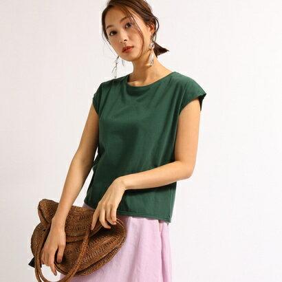 アクアガール aquagirl 【洗える】フレンチスリーブスクエアTシャツ (ダークグリーン)