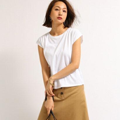 アクアガール aquagirl 【洗える】フレンチスリーブスクエアTシャツ (ホワイト)