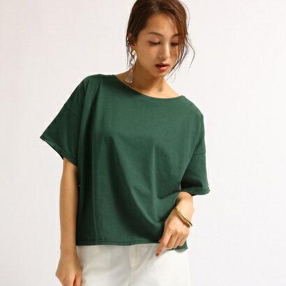 アクアガール aquagirl 【洗える】ゆるシルエットコットンTシャツ (ダークグリーン)