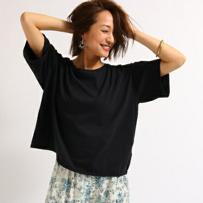 アクアガール aquagirl 【洗える】ゆるシルエットコットンTシャツ (ブラック)