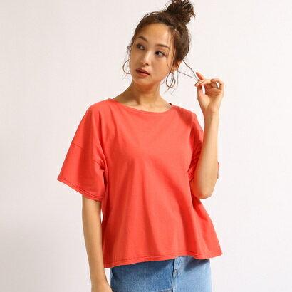 アクアガール aquagirl 【洗える】ゆるシルエットコットンTシャツ (オレンジ)
