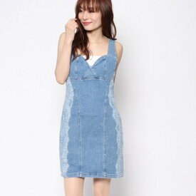 【アウトレット】ゲス GUESS BLEACHED LACE PRINT DENIM BODYCON DRESS (LIGHT WASH)