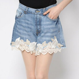【アウトレット】ゲス GUESS KIRA DENIM SHORT (BLOSSOM LACE)