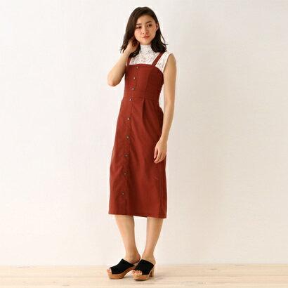オゾック OZOC ◆フロントボタンジャンパースカート (レンガ)