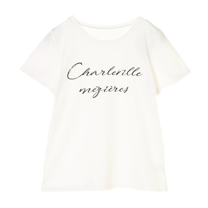 【アウトレット】アースミュージックアンドエコロジー earth music&ecology メッセージロゴTシャツ (Off White)