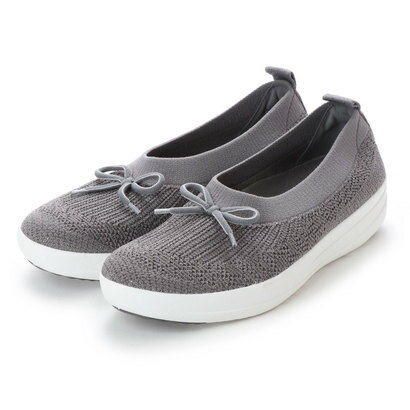 フィットフロップ FitFlop UBERKNIT BALLERINA WITH BOW - METALLIC WEAVE (Charcoal/Metallic Pewter)