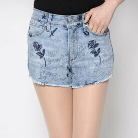【アウトレット】ゲス GUESS 1981 HIGH-RISE DOODLE ART DENIM SHORT (LIGHT WASH)