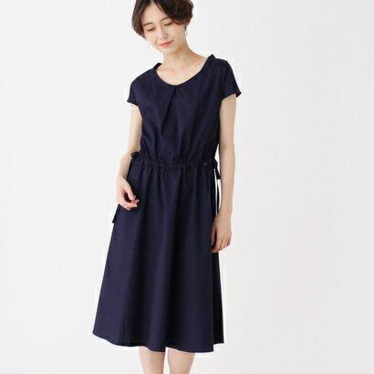 インデックス INDEX 【洗える】コットンサイドリボンワンピース (ネイビー)