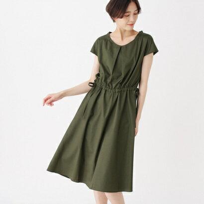 インデックス INDEX 【洗える】コットンサイドリボンワンピース (カーキ)