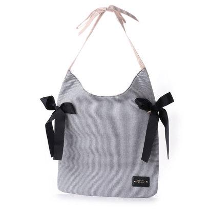 【アウトレット】プリムヴェールリズリサ Primevere LIZ LISA ストライプリボンA4対応バッグ (ネイビー)