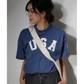 クラシカルエルフ Classical Elf ロゴ×星条旗☆半袖ゆるTシャツ レディース (ライトネイビー)