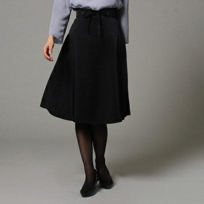 アンタイトル UNTITLED [L]【洗える】サッシュベルト付きフレアスカート (ブラック)