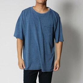 スタイルブロック STYLEBLOCK カットデニム天竺クルーネックビッグTシャツ (ブルー)