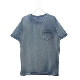 スタイルブロック STYLEBLOCK カットデニム天竺クルーネック半袖Tシャツカットソー (ブルー)
