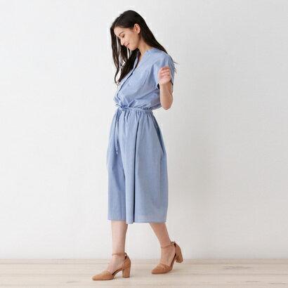 インデックス INDEX 【洗える】ベルト付きシャツワンピ (ブルー)