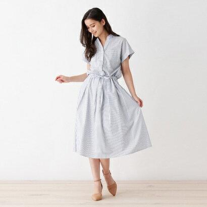 インデックス INDEX 【洗える】ベルト付きシャツワンピ (ホワイト)