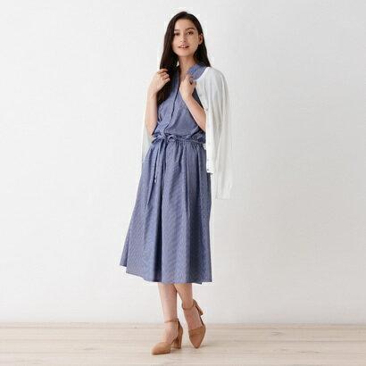 インデックス INDEX 【洗える】ベルト付きシャツワンピ (ネイビー)