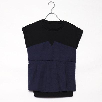 スタイルブロック STYLEBLOCK タックフレアビスチェドッキングTシャツ (ネイビー)