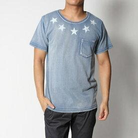 スタイルブロック STYLEBLOCK カットデニムスタープリントポケットTシャツ (サックス)