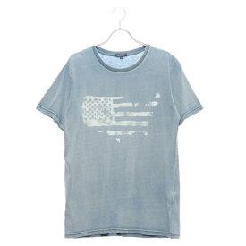 スタイルブロック STYLEBLOCK カットデニムプリントクルーネックTシャツ (サックス)