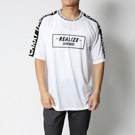 スタイルブロック STYLEBLOCK ボックスロゴ袖プリントライン入りビッグシルエットドロップショルダー半袖Tシャツカットソー (オフホワイト)