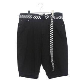 スタイルブロック STYLEBLOCK ベルト付きワイドデニムショートパンツショーツハーフパンツ (ブラック)