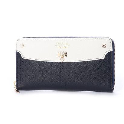 プリムヴェールリズリサ Primevere LIZ LISA ジンジャー リボンブローチ付き配色ラウンド長財布 (ネイビー)